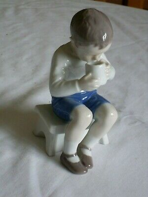 VINTAGE BING AND GRONDAHL  VICTOR  SEATED BOY DRINKING FROM CUP. No. 1713 • 35£