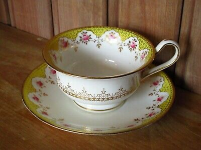 Antique Wedgwood Bone China Cup And Saucer Yellow Floral Pretty • 10£