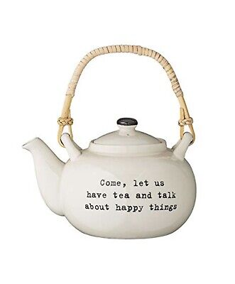 NEW In Box Bloomingville Teapot Bamboo Handle - Tea And Talk About Happy Things • 25£