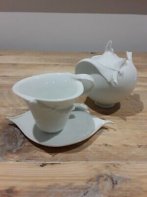 Franz Porcelain White Dragonfly Cup And Saucer Plus Sugar Bowl • 50£