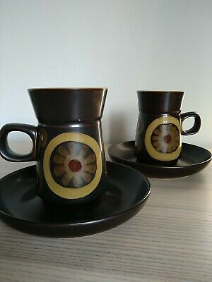 2 X DENBY ARABESQUE COFFEE CUPS & SAUCERS USED But GREAT CONDITION • 11.95£