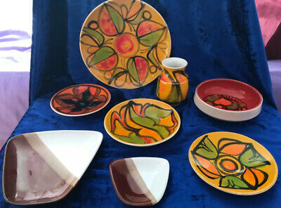 Small Collection Of Poole Delphis Pottery Plates Bowls And A Vase-8 Pieces. • 124.99£