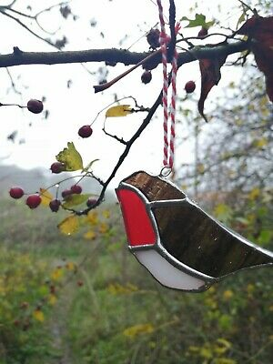 Stained Glass Robin Redbreast Suncatcher, Christmas Ornament • 8£