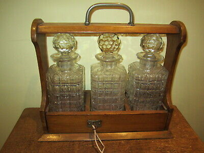 Antique Three Decanter Tantalus With Key • 65£