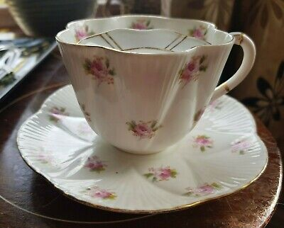 Reduced. Rare MOUSTACHE Antique Foley China Pink Roses Pattern Cup & Saucer • 65£