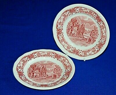 W H Grindley Scenes After Constable Pair Pink & White Side Plates Hampstead Road • 7.99£