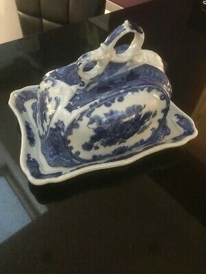Victoria Ware Blue Ironstone Covered Cheese Dish Plate • 9.50£