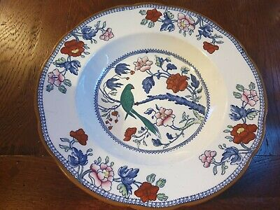 Antique/Vintage Silicon Booth's China  Green Parrot  Pattern Bowl • 15£