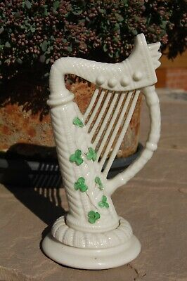 Belleek 2nd Period Harp With Unusual Applied Ceramic Shamrocks. Used Condition. • 24.99£