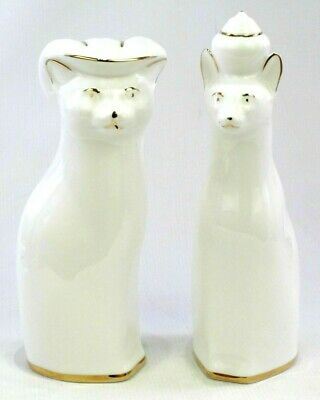 Pair Of Royal Vale Ceramic Cat Figures Ornament Approx 20cm Tall White And Gold • 14.95£