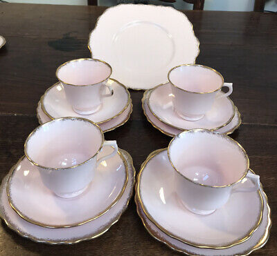 Royal Vale Pink & Gold Tea Set 4 Trios & Cake Plate • 29.99£