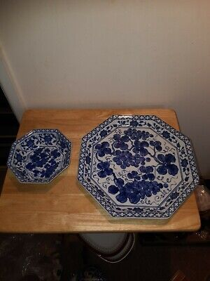Large Blue Server Plate And Blue Bowl • 20£