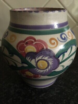 Carter Stabler Adams Poole Pottery Vase C1920. Signed. Art Deco, 5 Inches High • 25£