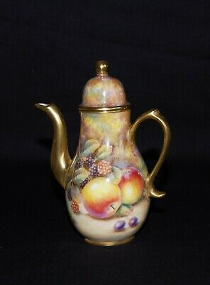 Miniature Hand Painted Fruit Coffee Pot By Ex Royal Worcester Artist D Fuller • 85£
