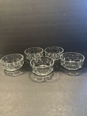 "5 France Clear Glass Small Fruit Desert Bowls Petale 4 1/4"" Thumbprint • 14.95£"