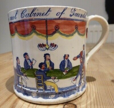 Rare Friendly Society Pearlware Polychrome Mug, 'Real Cabinet Of Friendship' • 149.99£