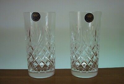 Pair Of Thomas Webb Crystal ~ Warwick Highball Tumblers In Excellent Condition • 20£
