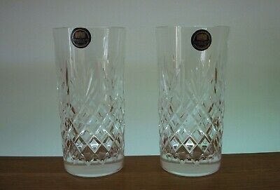 Pair Of Thomas Webb Crystal ~ Warwick Highball Tumblers In Excellent Condition • 24.50£