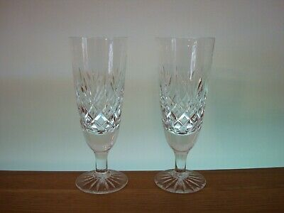 Pair Of Thomas Webb Crystal ~ Warwick Champagne Flutes In Excellent Condition • 28.50£