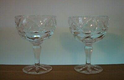 Pair Of Webb Corbett ~ Unknown Pattern Champagne Glasses In Excellent Condition • 22.50£