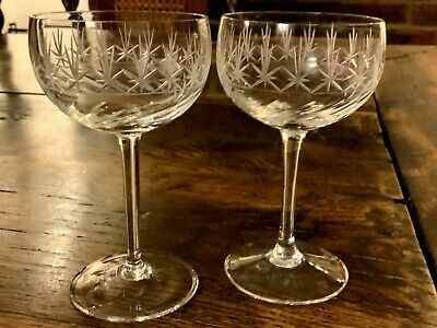 Superb Pair Of Early Acid Etched French Champagne Coupes • 28£