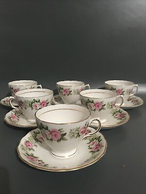 6x Colclough Bone China Tea Cups And Saucers Vintage Pink Floral Roses • 29.99£