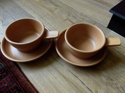 Purbeck Toast Handled Soup Bowls With Saucers • 12£