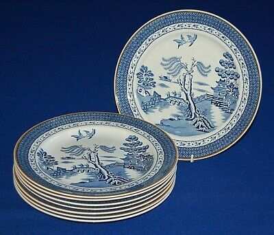 Vintage Set 8 Booths Willow Pattern Plates, 9.75  Diameter.  • 44.99£
