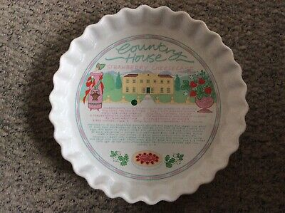 Ulster Ceramics Flan Quiche Pie Dish Country House Strawberry Cheesecake (J) • 8£