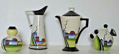 4 Pieces Of Lorna Bailey  Deco House  Clarice Cliff Style - Tall Jug, Coffee Pot • 250£