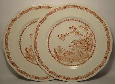 2 X FURNIVALS QUAIL ~ BROWN 10 1/4  DINNER PLATES IN GOOD CONDITION • 24.50£