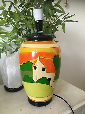 Large Vintage Pottery Clarice Cliff ? Table Lamp Art Deco Hand Painted. Large • 176£