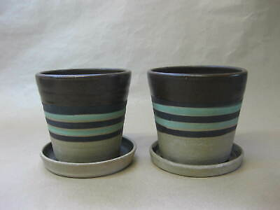 Pair Of Vintage Stoneware Flower Pots /Planters & Saucers ~ Abaty Pottery Wales • 13.99£