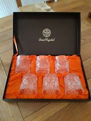 Vintage Webb Continental Hand Cut Lead Crystal 6 Whiskey Glasses In Original Box • 120£