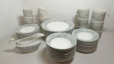 80s Vintage  Churchill 12 Dinner Service White Grey Plates Bowls Cups Gravy Boat • 29.99£