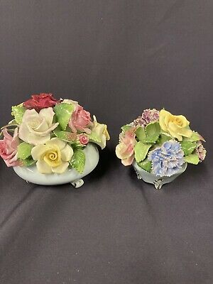 2x VINTAGE ROYAL ADDERLEY FLORAL BONE CHINA POSY BOWLS OF FLOWERS COLLECTABLE • 15.99£