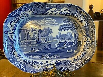 Antique Copeland Spode Italian Blue And White Meat Plate • 38£