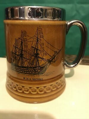 Lord Nelson Pottery ~Tankard~ H.M.S. Victory~ 4  Tall ~VGC • 5.99£