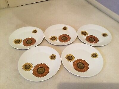 J & G Meakin Palma Dinner Plates X 5 - 10 Inches In Diameter - Sunflower Retro • 14.99£