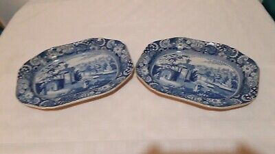 Antique Blue & White Plates • 10.50£