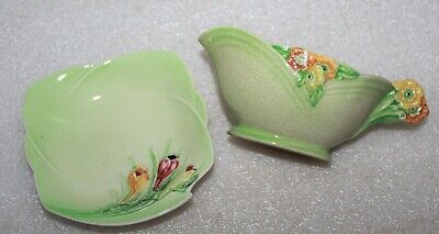 Royal Winton Small Sauce Boat & Preserve Dish Tray - Raised Floral Designs • 2.99£