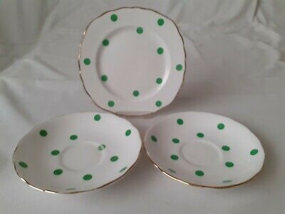 Vintage Royal Vale Green Polka Dot - 1 X Tea / Side Plate And 2 X Saucers • 7.99£