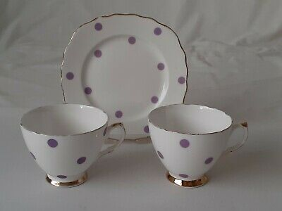 Vintage Royal Vale Purple / Lilac Polka Dot - 2 X Cups And 1 X Tea / Side Plate • 7.99£