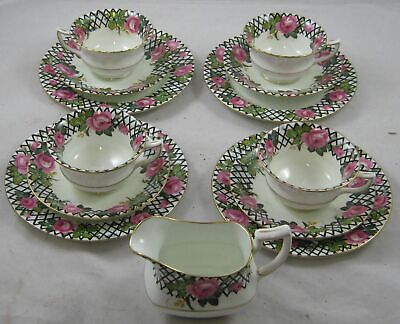 AYNSLEY CUP, SAUCER & SIDEPLATE TRIOS & MILK JUG - Pink Rose, White Gold Black • 35£