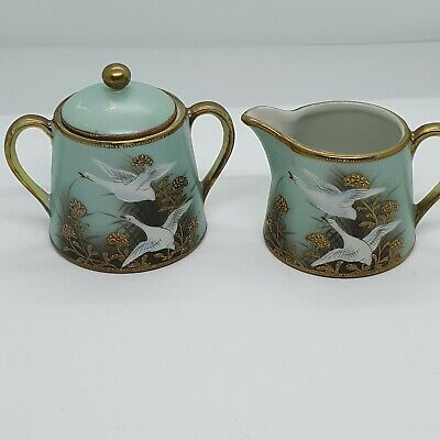 Rare Design Flying Geese Nippon Japan Jug And Lidded Sugar Bowl. • 49.99£