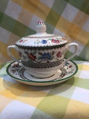 Vintage Copeland Spode 'Chinese Rose' Soup Bowl, Lid And Saucer • 18£
