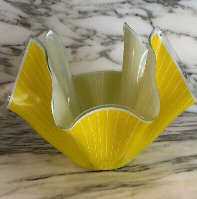 Chance Brothers Very Large Yellow Glass Handkerchief Vase • 40£