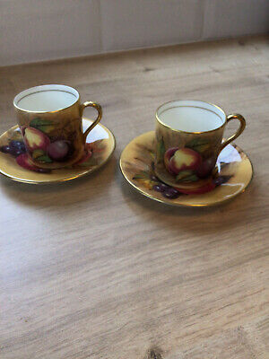 Aynsley Orchard Gold Coffee Cup And Saucer X2 • 57£