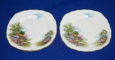 Vintage Royal Vale Pair Country Cottage Side Plates 15.5cms In Width 1st Quality • 7.99£