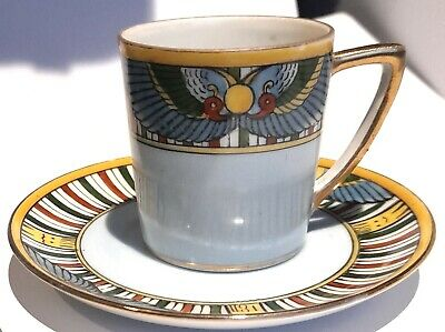 C.1920s Rare Noritake China Egyptian Art Deco Coffee Cup And Saucer Nippon Japan • 10£